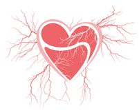 Broken heart with a lightning. Royalty Free Stock Photo