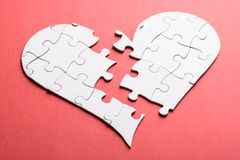 Broken heart made of puzzle Royalty Free Stock Image