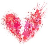 Broken heart made of spray and drops. Grunge background Royalty Free Stock Images