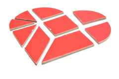 Broken heart. Made of tangram game pieces Royalty Free Stock Photo