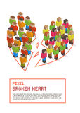 Broken heart made up of isometric pixel art people Stock Photography