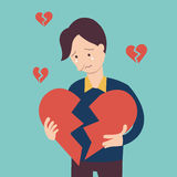 Broken heart man Royalty Free Stock Images
