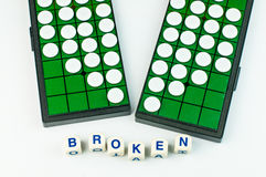 Broken Heart Othello with Alphabet Blocks Isolated Royalty Free Stock Photography