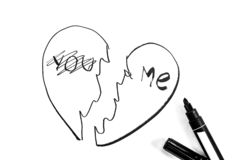 Broken heart is painted with  marker, black and white photo. Broken heart is painted with a marker, black and white photo vector illustration