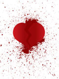 Broken heart in peaces. Illustration of broken heart in peaces with ripped blood Stock Image