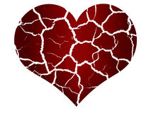 Broken heart in peaces. Illustration of broken heart in peaces with ripped blood Royalty Free Stock Image