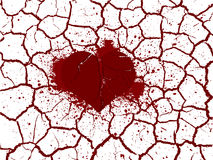 Broken heart in peaces. Illustration of broken heart in peaces with ripped blood Royalty Free Stock Images