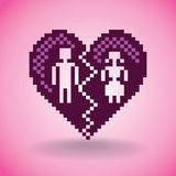 Broken heart in pixels Stock Images