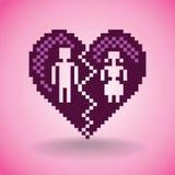Broken heart in pixels Stock Images