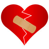 Broken heart with plaster. Vector illustration of broken heart with plaster Royalty Free Stock Photos