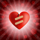 Broken heart with plaster and bubble background Royalty Free Stock Image
