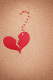 Broken heart and qmark. Broken heart and a question mark made of paper and tacks on corkboard Stock Photography