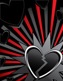 Broken heart ray background. Broken heart on red and black ray background Royalty Free Stock Images