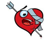 Broken Heart. A red cartoon heart with an arrow through it Stock Photo