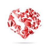 Broken heart, red explosion fragments  Stock Images