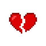 Broken heart red icon isolated on white background. Romantic love Stock Photography