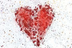 Broken heart. Red spot in the shape of a heart on white background. royalty free stock images