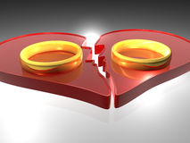 Broken heart - Rings - 3D. Design element - broken heart - Rings - 3D Royalty Free Stock Images