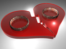 Broken heart - Rings - 3D. Design element - broken heart - Rings - 3D Royalty Free Stock Photo