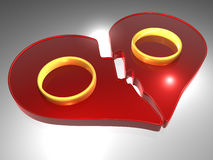 Broken heart - Rings - 3D Royalty Free Stock Photo