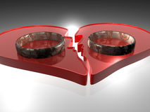 Broken heart - Rings - 3D Stock Photography