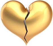 Broken heart shape golden. Broken heart shape total golden. Fall out of Love luxury symbol. Bored lover depression concept. Valentine's Day greeting card Stock Photo