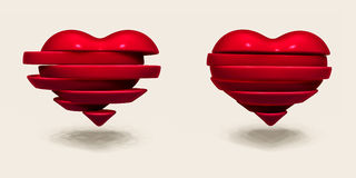 Broken heart sliced. Valentines Day illustration. Broken heart sliced. Abstract Valentines Day illustration Royalty Free Stock Image