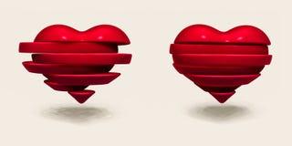 Broken heart sliced. Valentines Day illustration Royalty Free Stock Image