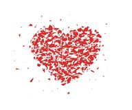 Broken heart, small pieces, particles. Abstract Vector illustration isolated on light background. royalty free illustration