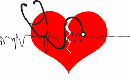 Broken heart with stethoscope Royalty Free Stock Images