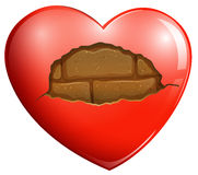 A broken heart with a stonewall. Illustration of a broken heart with a stonewall on a white background Stock Images