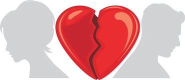 Broken heart. Symbol for design. Illustration Royalty Free Stock Image