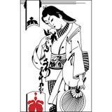 Broken heart. The vector illustration of sad samurai. Vintage ha Stock Image