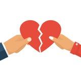 Broken heart vector. Man and female holding two halves of broken heart on white background. Breakup heart concept. Crisis relationship divorce. Unhappy love vector illustration