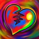 Broken Heart Vivid Digital Painting. A colorful and vibrant digital painting of a broken heart Royalty Free Stock Image