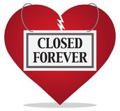 Broken Heart is Closed Forever. A broken heart is wearing a closed forever sign to indicate that is is broken beyond repair Royalty Free Stock Image