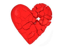 Broken Heart on white background. 3d Image Stock Images