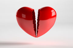 Broken Heart  on White, 3D Rendering. 3D rendering of broken heart  on white background Stock Images