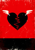 Broken heart with wings. Red and black poster with broken heart Royalty Free Stock Photo