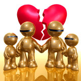 Broken hearted family 3d icon Royalty Free Stock Photos