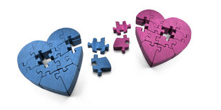 Broken Hearts. Wooden Jigsaw Hearts In Pieces � The Scattered Puzzle Of A Broken Romance Stock Image