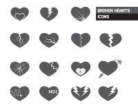 Broken Hearts Icons Stock Photo