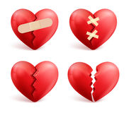 Broken hearts vector set of 3d realistic icons and symbols Royalty Free Stock Images