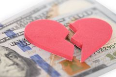 Broken Heartshaped On Us Currency. Close-up Of Broken Heartshaped On Us Currency Stock Photos