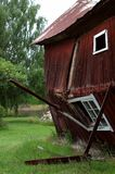 Broken home. Barn that for some reason did not stand up properly royalty free stock photos