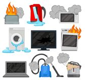 Broken home appliances set, damaged electrical household equipment vector Illustrations on a white background. Broken home appliances set, damaged electrical stock illustration