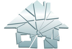 Broken Home concept house symbol shattered pieces Royalty Free Stock Photography
