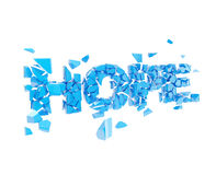 Broken hope, word explode into pieces Royalty Free Stock Photo
