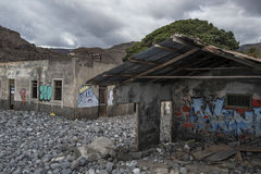 Broken house with graffiti. In Gomera Island Stock Images