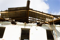 Broken house roof Royalty Free Stock Photo